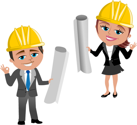 A Smiling cartoon architect with helmet and Ok hand gesture holding blueprint isolated on white. Illustration