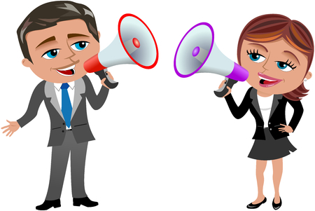 divulge: A businesswoman and businessman holding and speaking in megaphone isolated  on white.