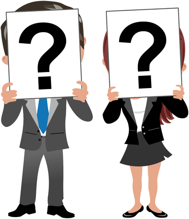 inquiring: businesswoman and businessman hiding behind question mark isolated on white