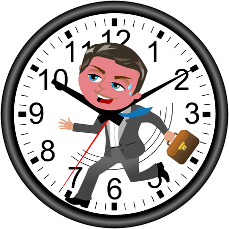 rushed: Red faced businessman running against time in a wall clock isolated on white Illustration