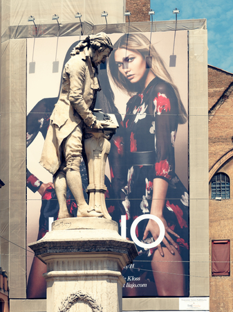 Bologna, Italy - August 2016: Statue of Galvani in downtown