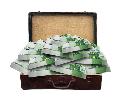 Vintage suitcase full of euro banknotes isolated