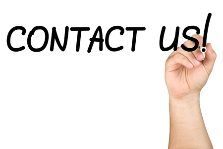 inquiry: Male hand writing contact us text with black felt tip or marker on a clear glass whiteboard isolated Stock Photo
