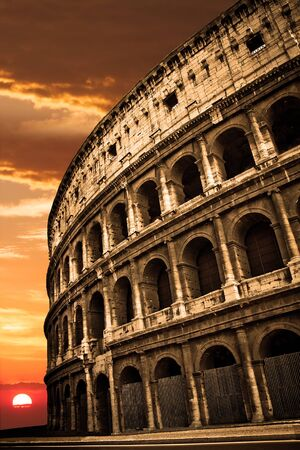 amphitheatre: Colosseum at Sunrise or Sunset Stock Photo