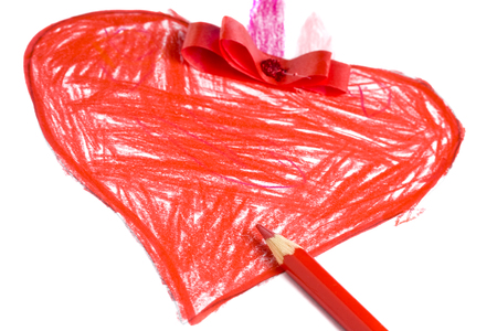 Photo featuring hand drawing Red Heart inaccurately colored with red crayon on white sheet