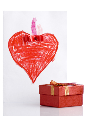 Freehand Drawing Red Heart and Gift Box