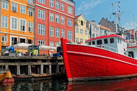 Copenhagen, Denmark - June 2016: waterfront canal and entertainment district Nyhavn