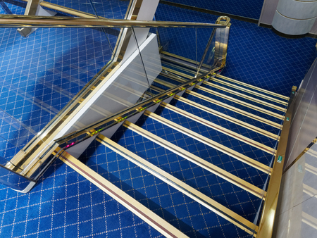 Blue velvet step staircase indoor Stock Photo