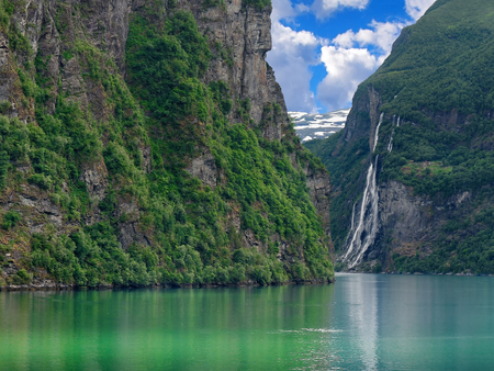 Seven Sisters Waterfall in geirangerfjord Norway Stock Photo