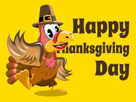 thanksgiving day symbol: Happy thanksgiving card with turkey waving Vettoriali
