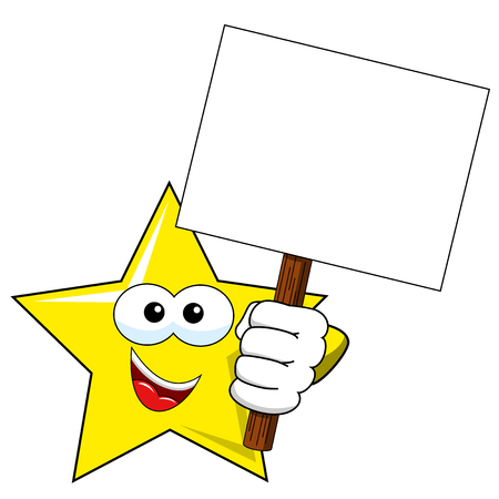 Cartoon Star Holding blank banner isolated on white