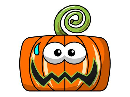 Scared Square halloween pumpkin isolated