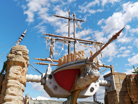 Rome, Italy - Sept 2017: Flying Dutchman rollercoaster attraction at Rainbow Magicland funfair