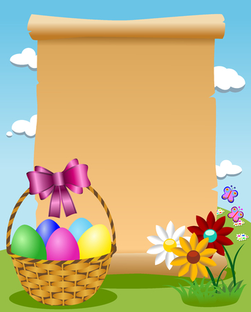 Blank parchment outdoor and Easter basket filled with colored eggs Stock Photo