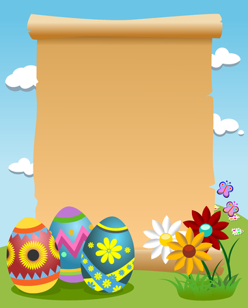 Blank scroll outdoor and decorated Easter eggs