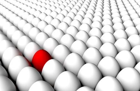 Massa eindeloze staande witte eieren rug aan rug en rode. Concept van diversiteit of anomalie of virusdetectie of kwaliteitscontrole of selectie