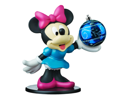 Rome, Italy - Oct 21, 2018 : Minnie mouse from Disney character holding blue xmas or christmas ball isolated
