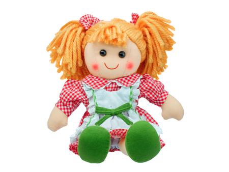 Sorridere sedersi bambola di pezza sveglia isolata