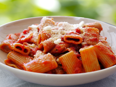 Amatriciana Maccheroni Pasta closeup Stock Photo