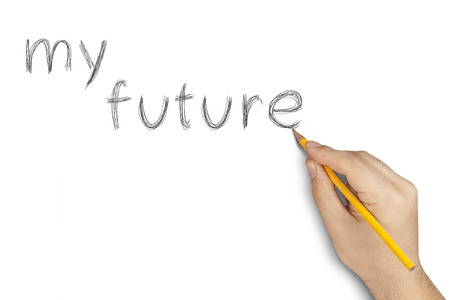 hand writing my future text with pencil on white