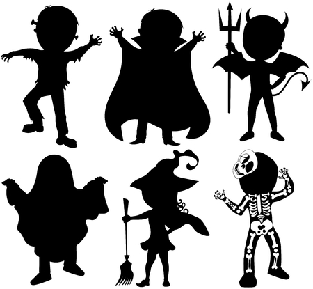 Silhouette of kids or children wearing halloween costumes isolated Illustration