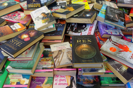 Nettuno, Italy - August 2015: Stand of books at local market