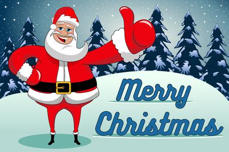 Santa Claus thumb up merry christmas or xmas background