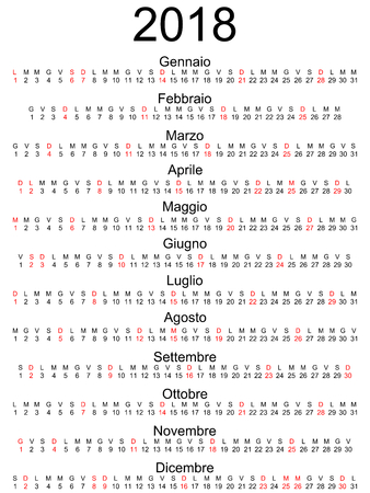 Calendar 2018 Italian holidays marked isolated illustration.