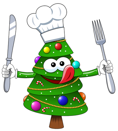 Xmas or christmas tree mascot cook character fork and knife isolated