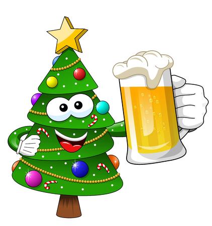 Xmas or christmas tree mascot character holding beer mug isolated