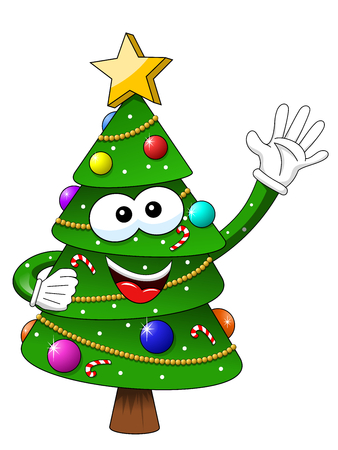 Xmas or christmas tree mascot character waving isolated