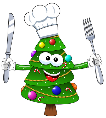 Christmas tree mascot cook character fork and knife isolated