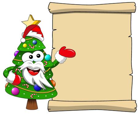xmas or christmas tree santa claus mascot character presenting blank scroll isolated