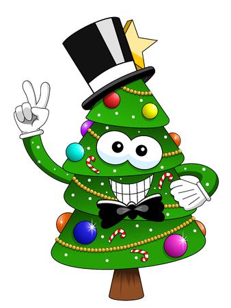 Kerstboom mascotte karakter smoking hoge hoed glimlachen geïsoleerd op wit