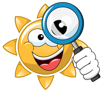 Glückliche Karikatursonne, die das Vergrößerungsglas getrennt auf Weiß schaut Standard-Bild - 91960288