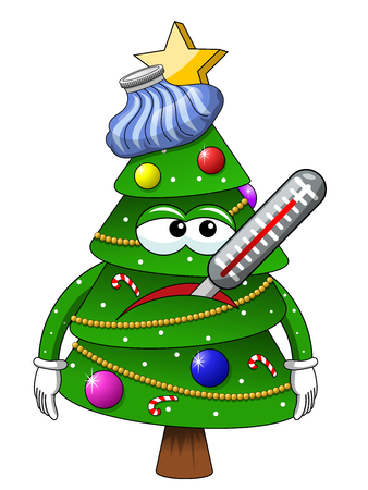Christmas tree mascot character sick ice bag isolated on white
