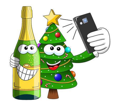 christmas tree and sparkling wine bottle mascot character selfie with smartphone isolated