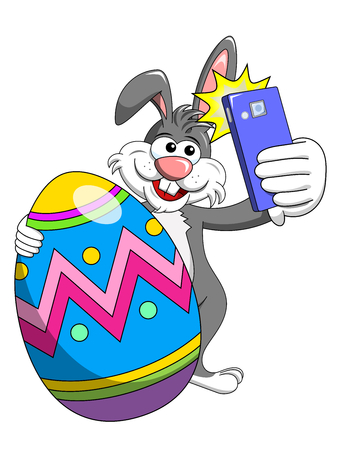 bunny or rabbit taking selfie photo smartphone with decorated egg easter isolated on white