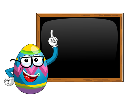 Decorated mascot easter egg teaching blank blackboard or chalkboard isolated on white