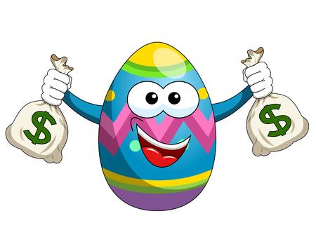 Decorated mascot easter egg holding sacks of money isolated on white