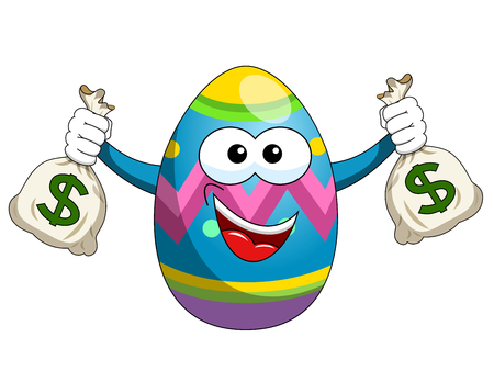 Decorated mascot easter egg holding sacks of money isolated on white