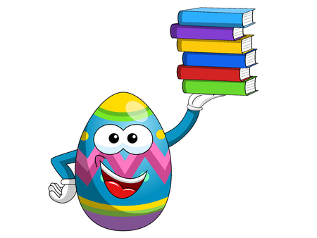 Decorated mascot easter egg holding stack of colorful books isolated on white