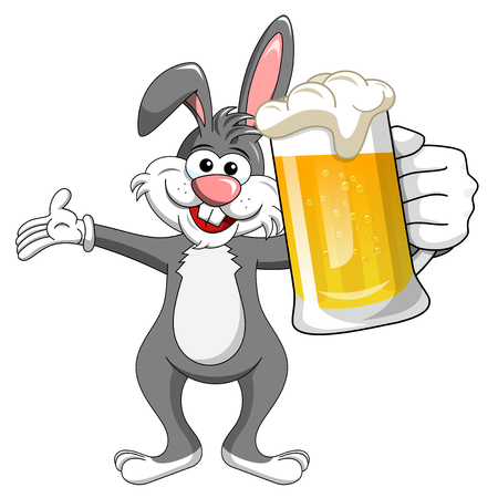 bunny or rabbit drinking mug beer isolated on white