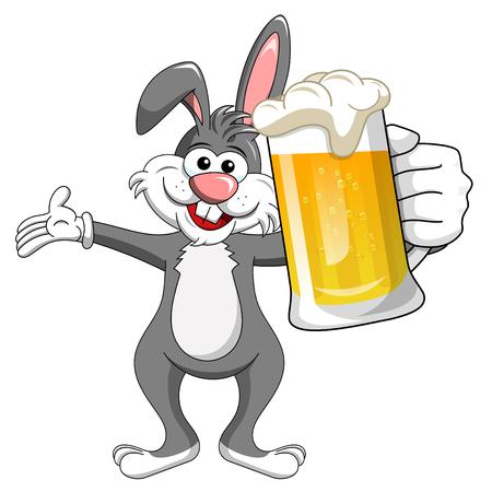 bunny or rabbit drinking mug beer isolated on white
