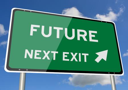 Future signpost or roadsign next exit blue sky