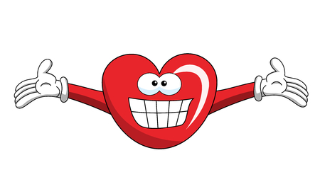 Cartoon mascot heart big smile isolated on white