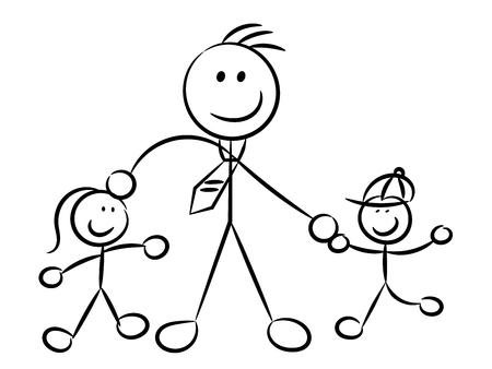 Papa spelen met kinderen naïeve schetsmatige tekens geïsoleerd op een witte achtergrond.