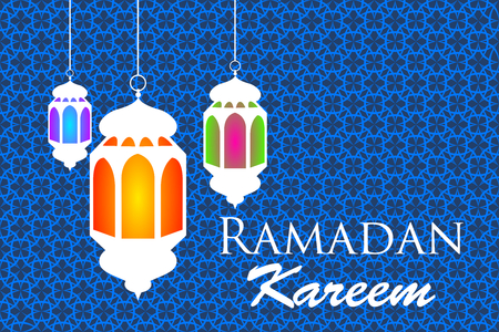 Ramadan kareem arabic pattern lanterns vector illustration Illustration
