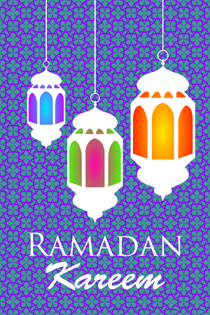 Ramadan kareem banner with colorful lanterns on blue arabic pattern. Vector illustration.