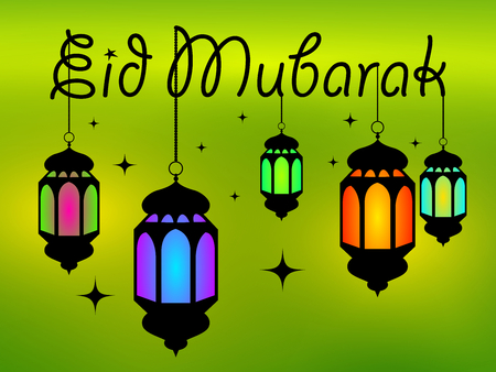 Eid mubarak banner with text and colorful lanterns with stars on green background. Vector illustration. Illustration